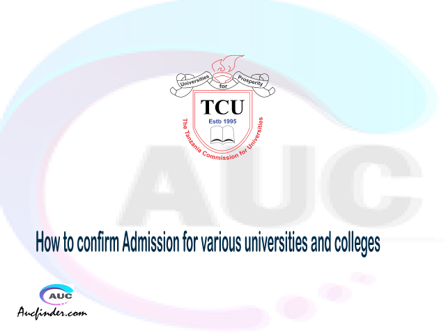 How to confirm Admission, Confirm your admission, confirmation code, verification code, TCU confirmation code