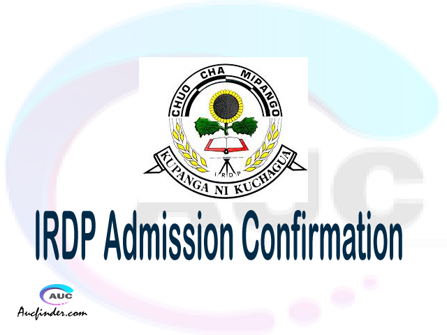 IRDP confirmation code, how to confirm IRDP admission, IRDP confirm admission, IRDP verification code, IRDP TCU confirmation code - confirm your admission at the Institute of Rural Development Planning IRDP