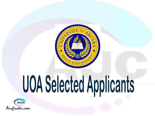 UOA selected applicants 2021/22 pdf, Majina ya waliochaguliwa University of Arusha, University of Arusha selected applicants, University of Arusha UOA Selected candidates 2021, University of Arusha UOA Selected students