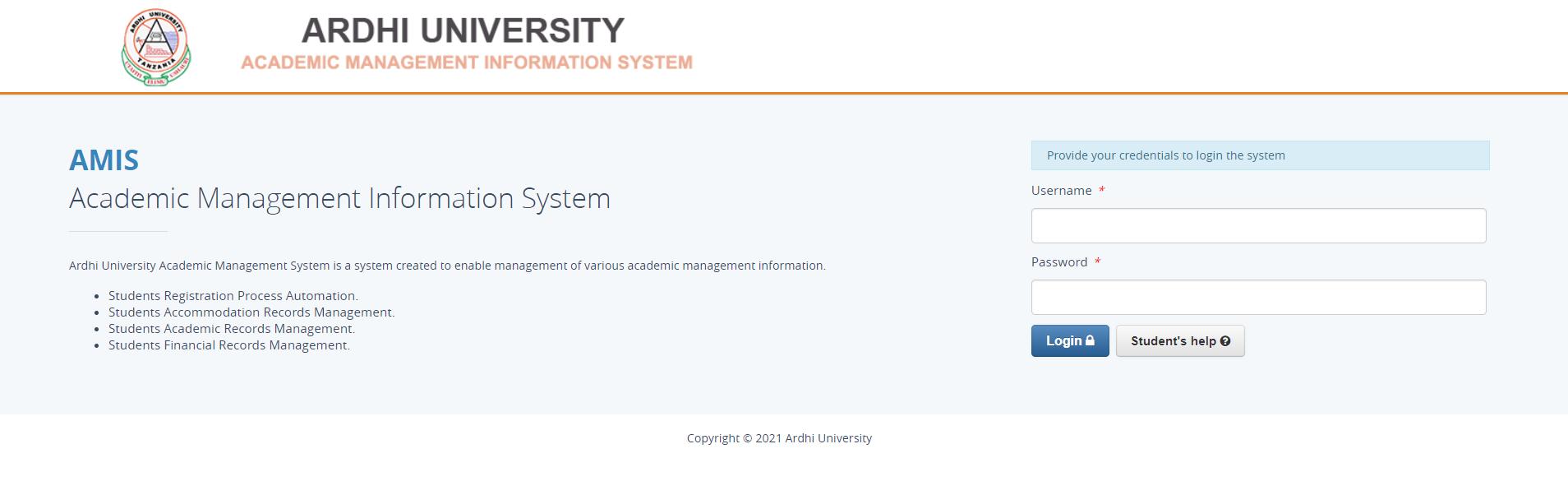 Ardhi University Academic Management Information System